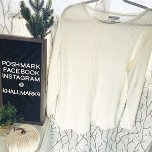 Kim Rodgers Petite Cream Cable Knit Flowy Sweater